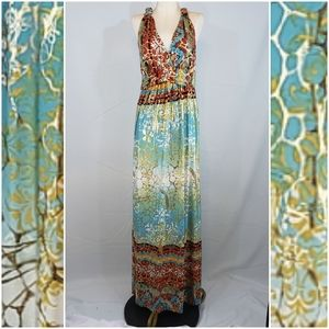 Cleo maxi dress with gold accents size 1X